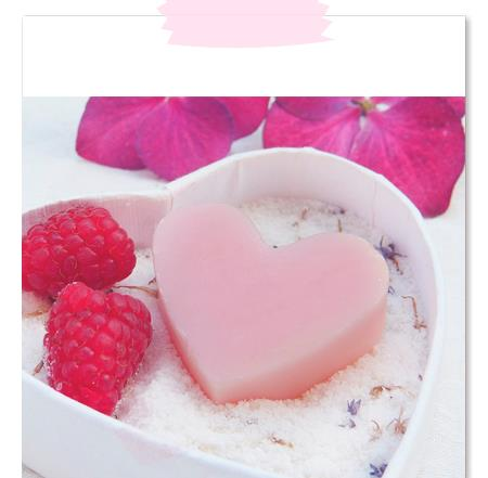 Pink heart and raspberries